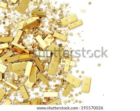 Heap of Treasure. Golden Bars, Coins and Golden Pieces isolated on white background. Business Financial Concept with place for Your Text - stock photo