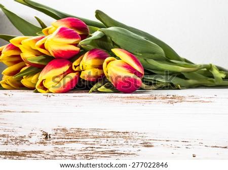 Heap of tulips as floral backgrounds. Arrangement of tulips on a wooden planks background for mothers day, wedding invitation, greetings card and invitation cards - stock photo