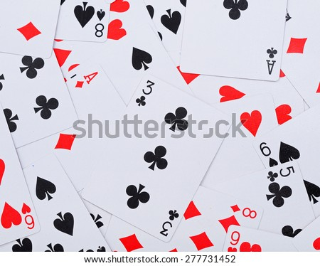Heap of various french cards - stock photo