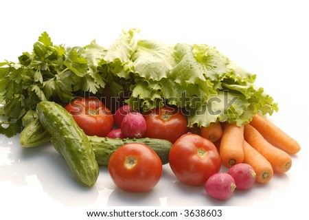 heap of vegetables isolated on white