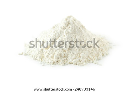 Heap of wheat flour isolated on white
