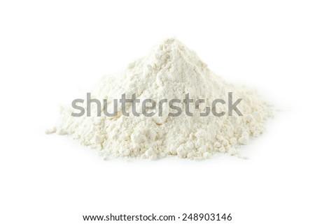 Heap of wheat flour isolated on white - stock photo