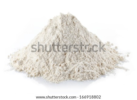 Heap of wheat flour isolated on white background - stock photo