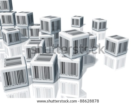 Heap of white cubes with barcodes on white reflective background - stock photo
