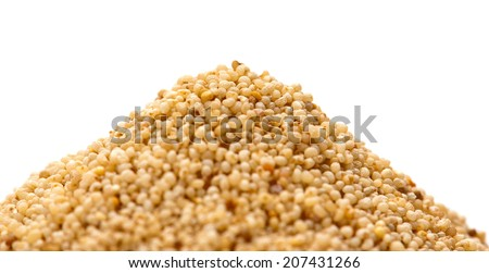 Heap of white poppy seeds isolated on white background