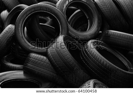 Heap of worn-out tires (Black & White)