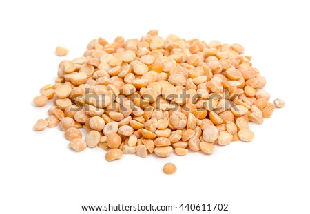 Heap of yellow dried peas isolated on white background - stock photo