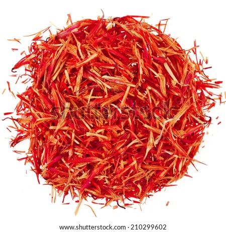 Heap pile of Saffron Stamens, Surface Top view  isolated on white background - stock photo