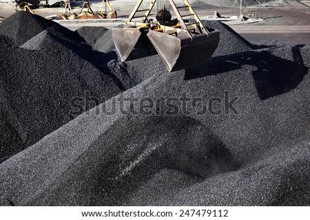 Heaps of coal - stock photo