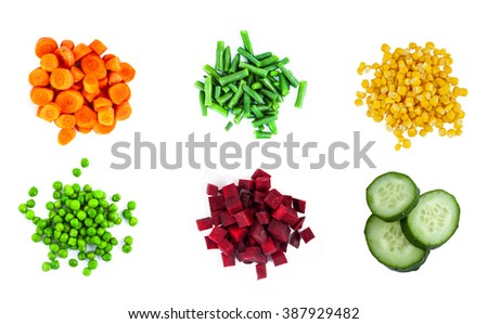 Heaps of different cut vegetables isolated on white background. Top view. - stock photo