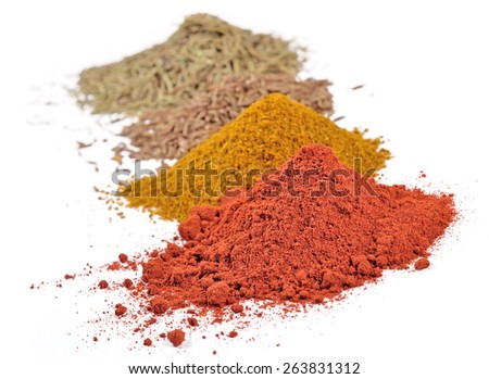 Heaps of different dry spices on a white  - stock photo