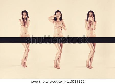 hear no evil, see no evil, speak no evil pose nude woman - stock photo