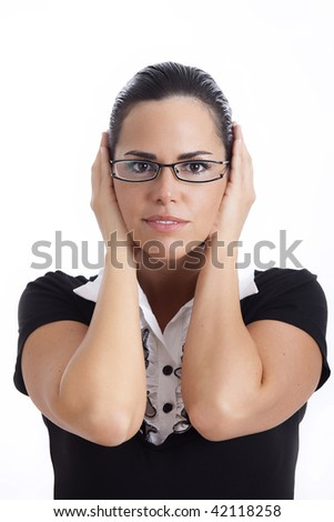 Hear no evil - Young woman covering her ears with hands over white background - stock photo