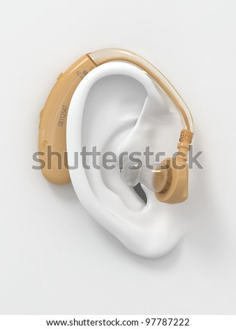 Hearing aid on white ear. Three-dimensional image. 3d - stock photo