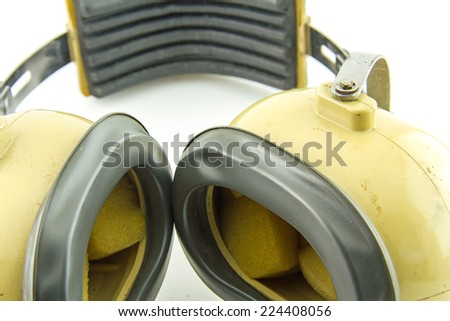 Hearing protection  ear muffs, with clipping paths  - stock photo