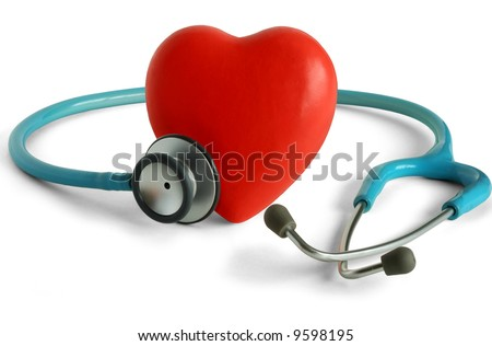 Heart and a stethoscope isolated in white background - stock photo