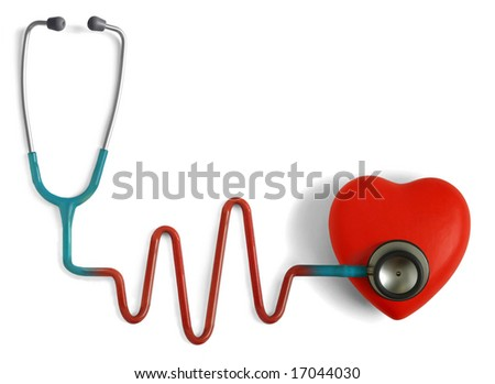 Heart and a stethoscope with heartbeat (pulse) symbol isolated in white background - stock photo