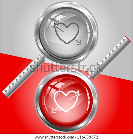Heart and arrow. Raster magnifying glass. Vector version is in my portfolio. - stock photo