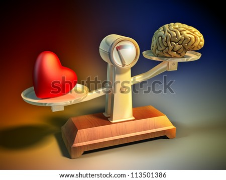 Heart and brain on a balance scale. Digital illustration. - stock photo