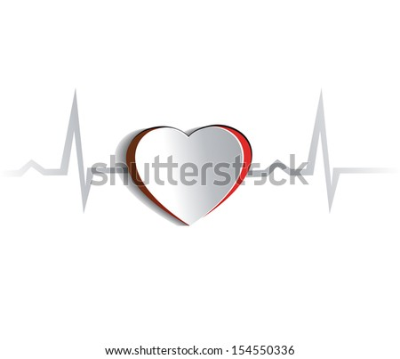 Heart and cardiogram. Paper looking design.  Heart connected with heart rate monitoring line. Isolated on a white background.  - stock photo