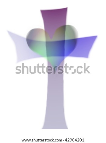heart and cross isolated on white - stock photo