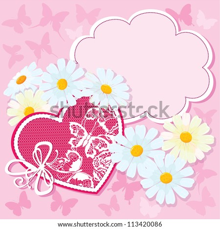 Heart and daisies on a pink background with butterflies. valentine card. Raster version - stock photo