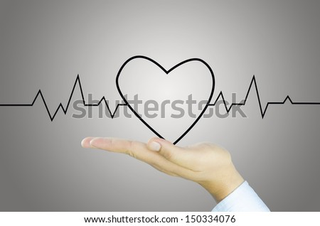 Heart and graph on Human hand