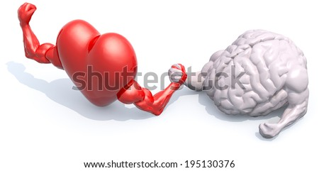 heart and human brain that make arm wrestling, 3d illustration - stock photo