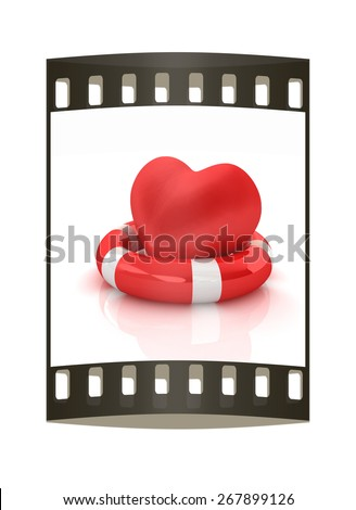 Heart and life belt. Concept of life-saving. The film strip - stock photo