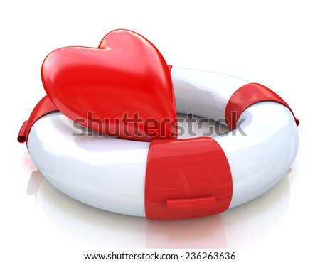 Heart and life buoy on white background: concept of love relationships