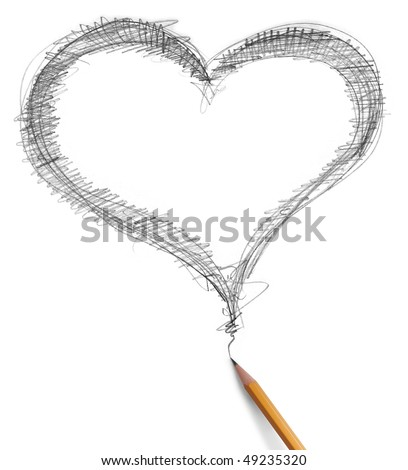 heart and pencil isolated on white background - stock photo