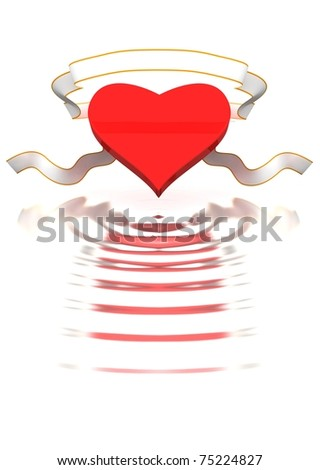 Heart and ribbon  are reflected in waves. - stock photo