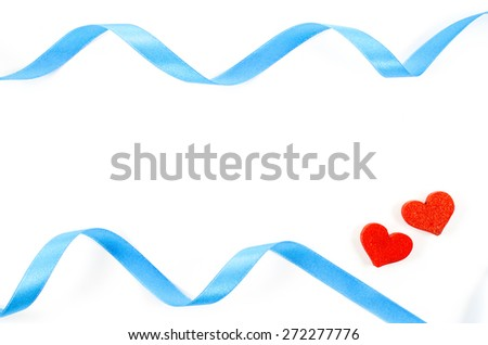 Heart and ribbon on white background - stock photo