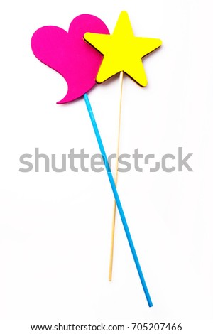 Heart and star on a stick baby accessories isolated on white background