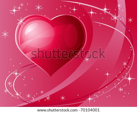 Heart and stars shining with light of love. - stock photo