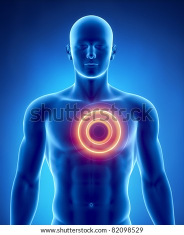 Heart attack concept with glowing circle - stock photo