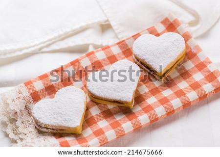 Heart  baked cookies  - stock photo