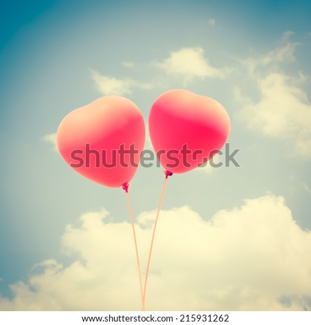 Heart Balloons Background For Valentines Day,Memory Of Love - stock photo