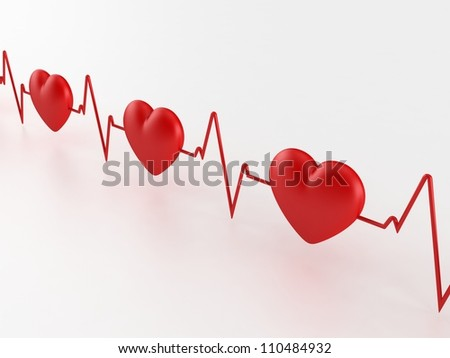 Heart Beat 3d - stock photo