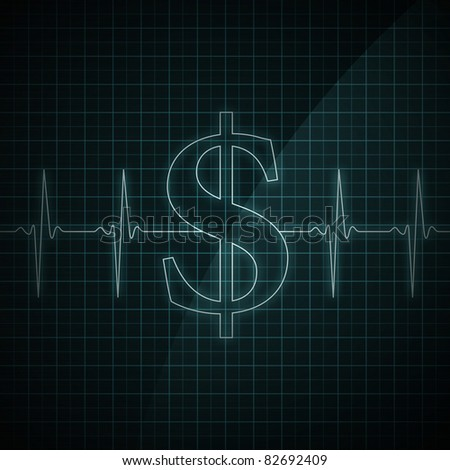 Heart beat monitor showing Dollar symbol. Concept for financial health. - stock photo