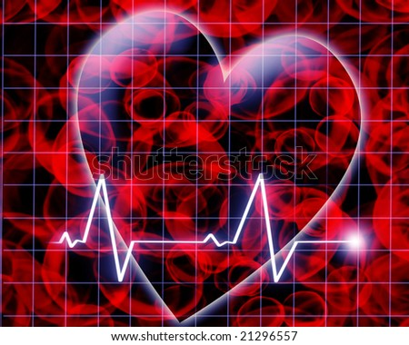 Heart beat on a monitor on a dark background