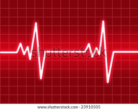heart beat on a red monitor - stock photo