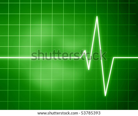heart beat on display on a green background