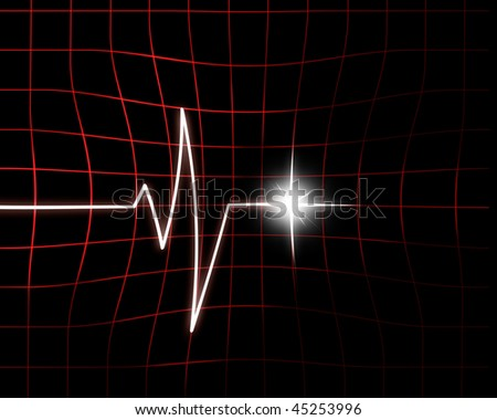 Heart beat on hospital monitor on a dark background