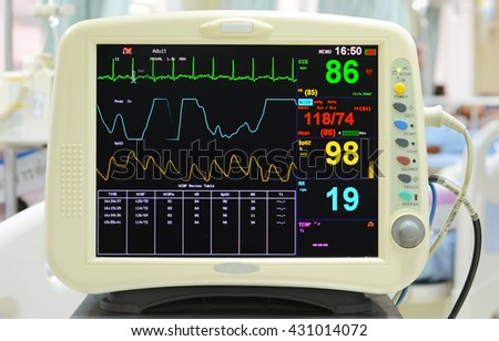 Heart blood pressure monitor used in a hospital room