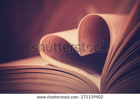 Heart book page - vintage effect style pictures - stock photo
