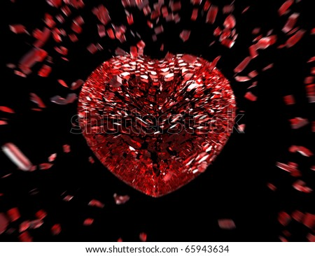 heart breaking into small pieces - stock photo