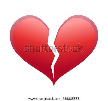 Heart Broken Half Crack Illustration Stock Illustration 286835558