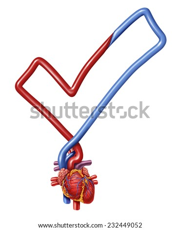 Heart check medical health care symbol as a  human heart shaped as a check mark as a symbol of a doctor examination test. - stock photo