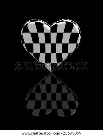 heart chess 3d black-and-white shot - stock photo
